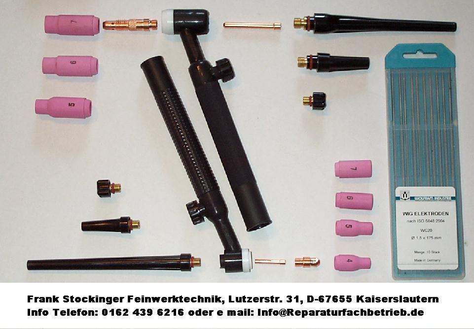 Verschleißteile und Ersatzteile, Keramikdüsen, Brennerkappe, Brennergriff, Spannhülsen und Wolfram Elektroden für WIG Schweißgerät.